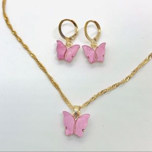 Pink Butterfly Earrings and Necklace set
